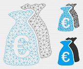 Mesh Euro Funds Model With Triangle Mosaic Icon. Wire Frame Triangular Mesh Of Euro Funds. Vector Mo poster