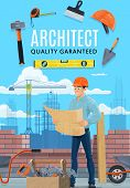 Builder Architect And Construction Worker Profession. Vector Professional Architecture Building Engi poster
