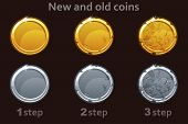Coin Icon. Vector Gold And Silver Coins. 3 Steps Of Drawing A Coin From New To Old. poster