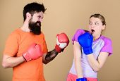 Boxing Sport Concept. Couple Girl And Hipster Practicing Boxing. Sport For Everyone. Amateur Boxing  poster