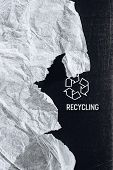 Black Textured Carton Vertical Background With Printed White Recycling Logo Sign And Piece Of Recycl poster