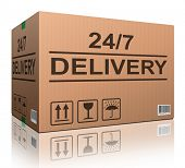 order delivery 24/7 cardboard box package shipping clock round service  shipment from online internet store