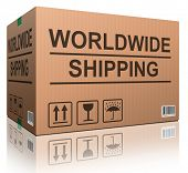 worldwide shipping web shop icon concept for shipping online shopping order global cardboard box wit