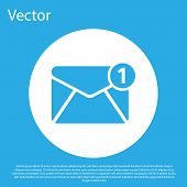 Blue Envelope Icon Isolated On Blue Background. Received Message Concept. New, Email Incoming Messag poster