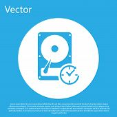 Blue Hard Disk Drive With Clockwise Sign, Data Recovery Icon Isolated On Blue Background. White Circ poster