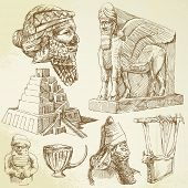 ancient mesopotamian art - hand drawn collection