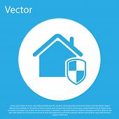 Blue House Under Protection Icon Isolated On Blue Background. Home And Shield. Protection, Safety, S poster