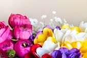 Bouquet Of Flowers. Postcard Romantic Background. Macro. A Beautiful And Colorful Bouquet Of Freshly poster