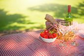 Picnic Basket Checkered With Picnic Tablecloth/picnic Basket Checkered With Picnic Tablecloth poster
