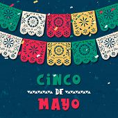 Happy Cinco De Mayo Greeting Card Illustration Of Papel Picado Garland For Mexico Independence Celeb poster