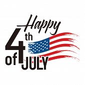Happy 4th Of July, Independence Day Of Usa Lettering Design. Happy Independence Day United States Of poster