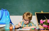 Back To School. Happy Pupil Drawing At Desk. Child In Classroom With Blackboard. Kid From Primary Sc poster
