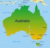 Gedetailleerde vector kaart van Australische continent