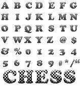 Exclusive Collection Letters With Chess Square On White Background. White And Black Illustrated Ches