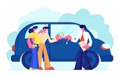 Customers Buying Automobile Giving Money To Dealer. Salesman Give Key To New Owner. Young Family Cou poster