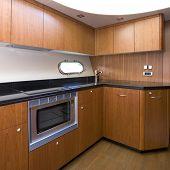 A luxury yacht interior kitchen - Luxury concept