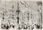Grand Ball given in Douai city hall, France. Created by Best and Cosson-Smeeton, published on L'Illustration, Journal Universel, Paris, 1863