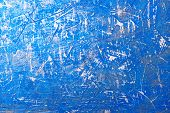 Blue Abstract Background With Scratches. Empty Surface With Pronounced Texture poster