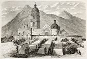 French intervention in Mexico: troops encampment in front of Saint-Sebastien church in Tecamachalco.
