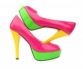 foto of peep toe  - Pink green yellow high heels open toe pump shoes - JPG