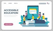 Accessible Education Website. Online Learning For Disabled People Concept. Vector Illustration Virtu poster