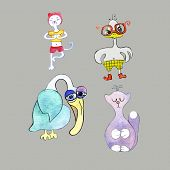Set Of Cartoon Animals: Cat Practicing Yoga, Sad Pelican, Angry Chick In Glasses, Kitty Princess. Ca poster