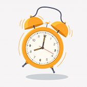 Yellow Ringing Alarm Clock Icon Isolated On White Background. Wake Up Time. Desk Clock Vector Illust poster