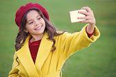 Little Girl Hold Smartphone Or Mobile Phone. Modern Generation Communication. Mobile Communication C poster