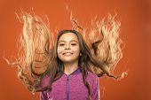 Little Girl Grow Long Hair. Teaching Child Healthy Hair Care Habits. Strong Hair Concept. Kid Girl L poster