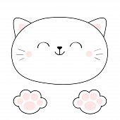 Cat Head Face. Linear Silhouette Icon. Paw Print Leg Foot Pink Pads. Contour Line. Cute Cartoon Kawa poster