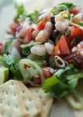 image of poblano  - camaron shrimp ceviche raw seafood salad Mexico chili sauces - JPG