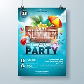 Vector Summer Beach Party Flyer Design With Flower, Palm Leaves And Starfish On Ocean Blue Backgroun poster