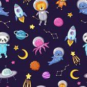 Space Animals Pattern. Cute Baby Animal Astronauts Flying Kid Pets Cosmonauts Funny Spaceman Boy Sea poster