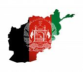 Vector Illustration With Afghanistan National Flag With Shape Of Afghanistan Map (simplified). Volum poster