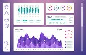 Infographic Dashboard, Admin Panel With Info Charts, Diagrams Vector Template. Info Data Graph And D poster
