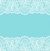 Horizontally Seamless Mint Lace Background With White Lace Borders poster