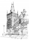 Prague - Powder Tower & Municipal House. ?rchitectural drawing of the historic district of the city.