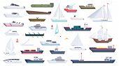 Sea Ship. Travel Boat Boating Illustrations Motorboat Ocean Big Vessel Vector Cartoon. Sea Travel Cr poster