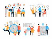 Work Organization. Task Management People Productivity Organize Process Efficiency Vector Stylized C poster