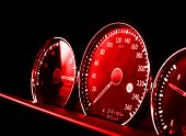 Close Up Shot Of A Red Speedometer In A Car. Car Dashboard. Dashboard Details With Indication Lamps. poster