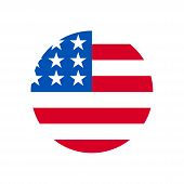 United States Flag Icon Isolated On White Background. United States Flag Icon In Trendy Design Style poster
