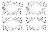Speed . Background Of Radial Lines. Set Of Various Symbols Of Movement, Speed, Explosion, Radiance,  poster