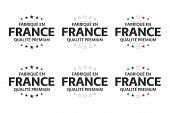 Set Of Six French Icons, Symbols Made In France In French, Premium Quality Stickers, Simple Vector I poster