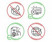 Do Or Stop. Reject Access, Leaf Dew And Certificate Icons Simple Set. Environment Day Sign. Delete D poster