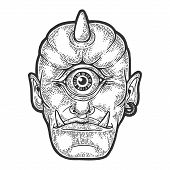 Cyclop Ancient Greek Myth Creature Sketch Engraving Vector Illustration. Scratch Board Style Imitati poster