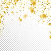 Streamers And Confetti. Gold Tinsel And Foil Ribbons. Confetti Falling Rain On White Transparent Bac poster