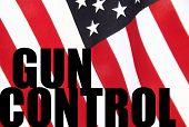 American flag with gun control words