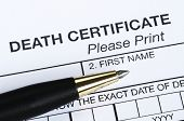 image of deceased  - This is a closeup view of the Death certificate - JPG