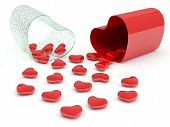 Hearts In Pill. 3D Model Isolated On White