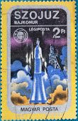 HUNGARY - CIRCA 1975:: A stamp printed in Hungary, presents Soyuz spacecraft in space, circa 1975